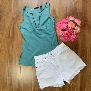 Turquoise Silk Sleeveless Blouse